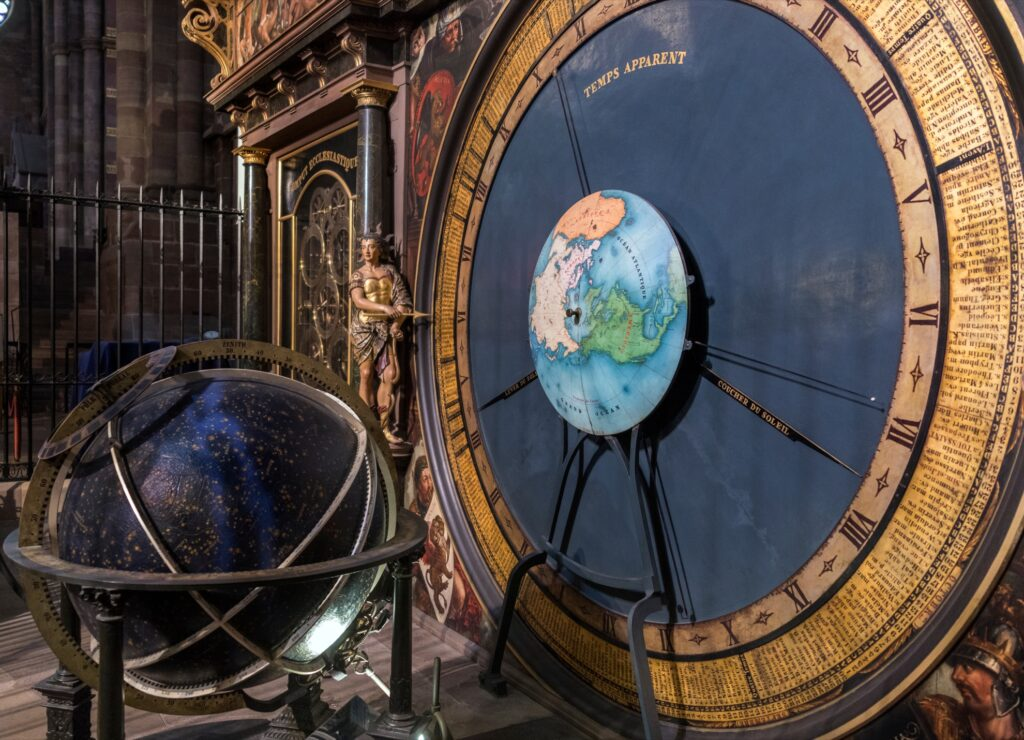 The astronomical clock in Strasbourg Cathedral.