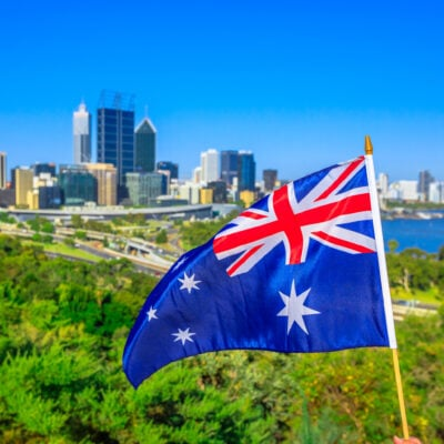 The Australian flag and the Perth skyline.