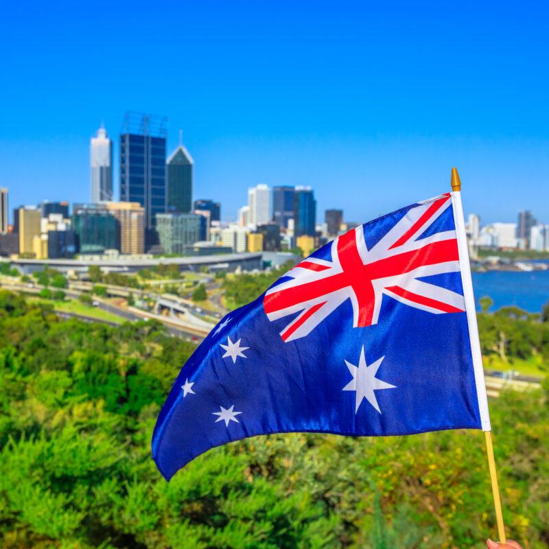 The Australian flag and the Perth skyline.