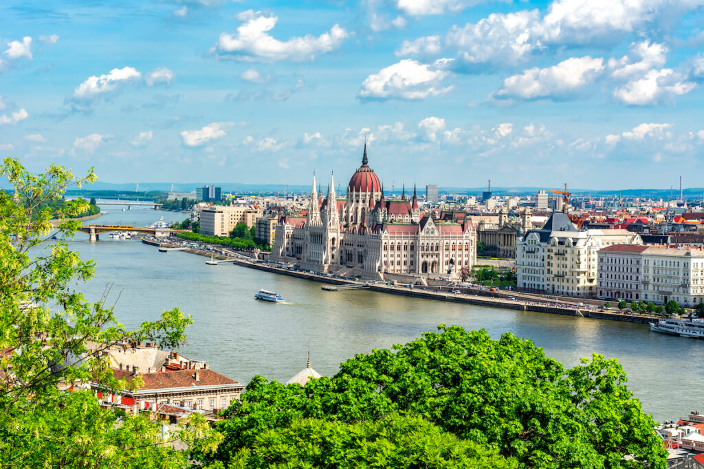 The banks of the Danube River in Budapest, Hungary.