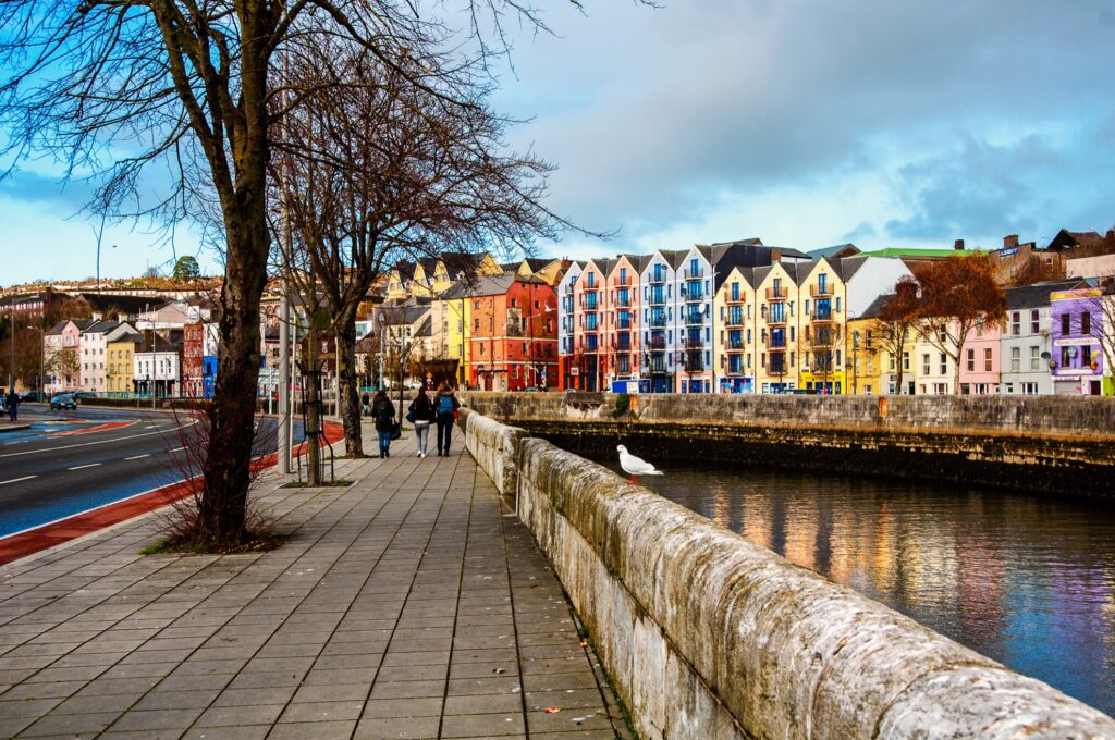 The banks of the River Lee in Cork, Ireland.