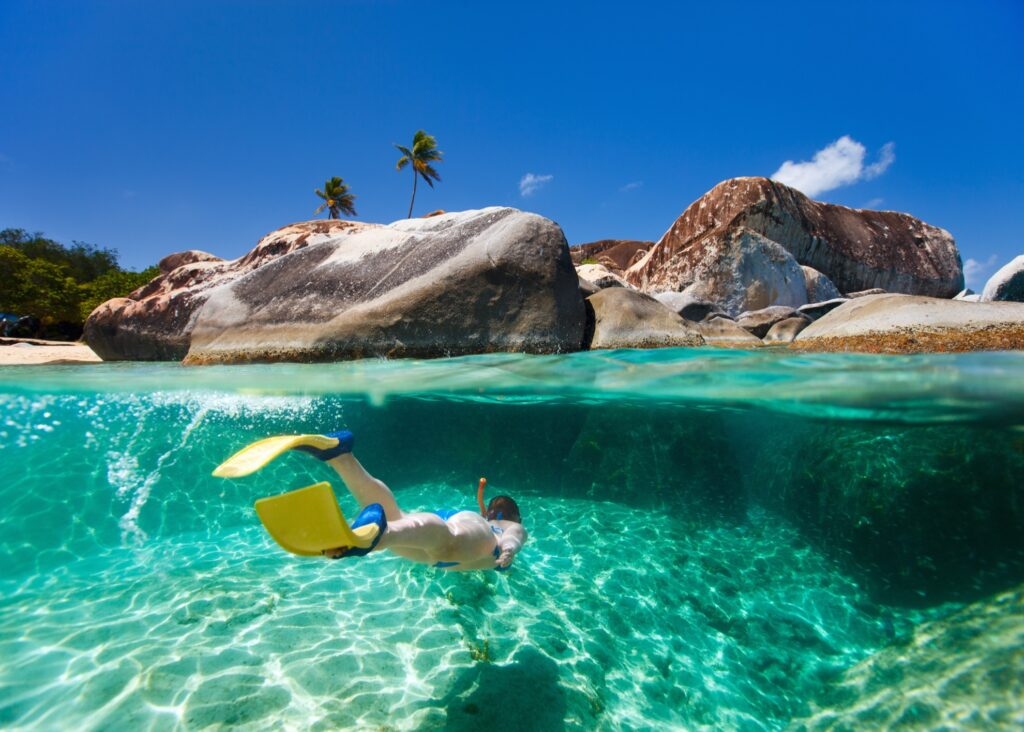 The Baths of Virgin Gorda in the British Virgin Islands.