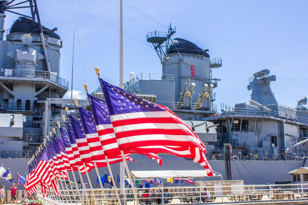 The Battleship Missouri memorial site at Pearl Harbor.