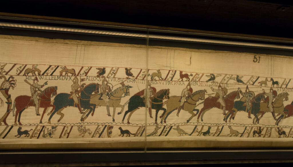 The Bayeux Tapestry at Musee de la Tapisserie de Bayeux.