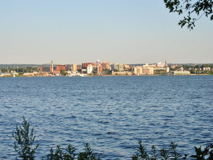 The bayfront district of Erie, Pennsylvania.