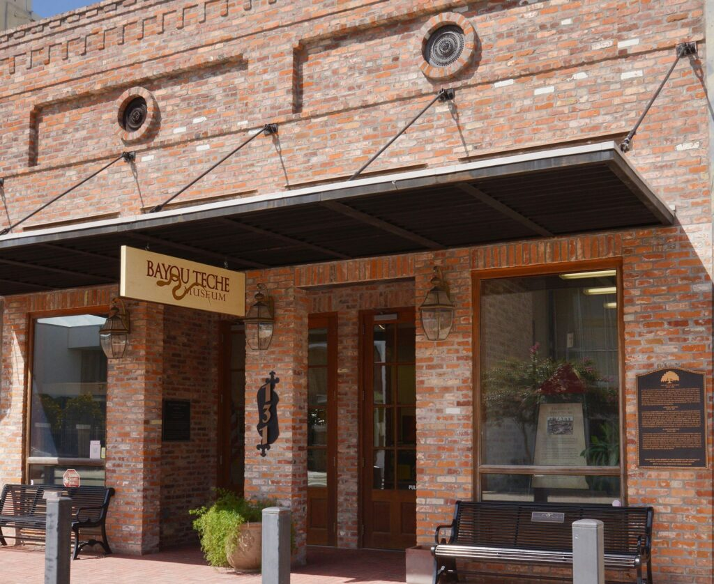The Bayou Teche Museum's old-fashioned brick storefront