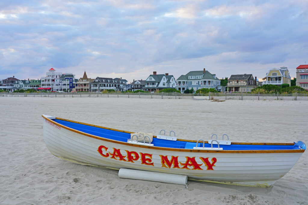 The beach in romantic Cape May, New Jersey.