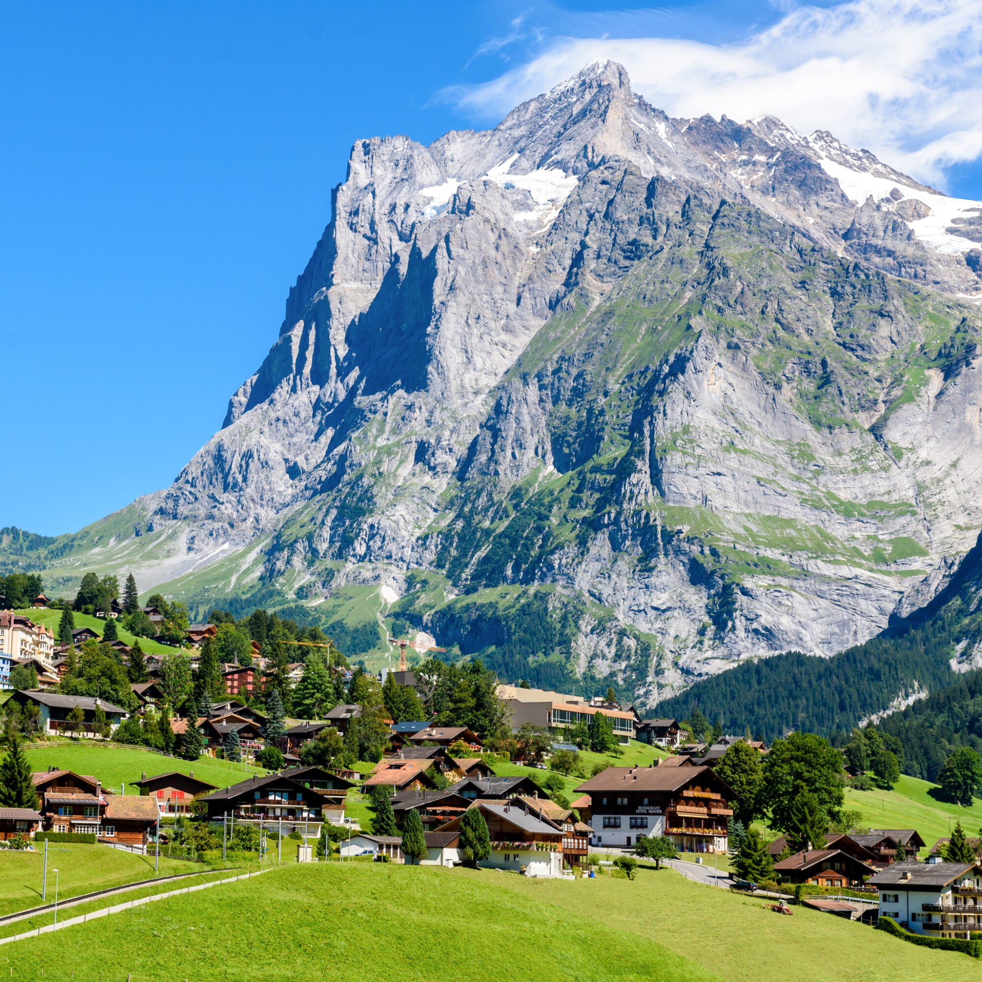 The beautiful town of Grindelwald, Switzerland.
