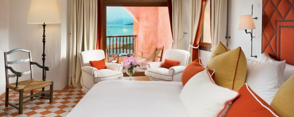 The bedroom of the Hotel Cala di Volpe's penthouse suite, Porto Cervo, Sardinia
