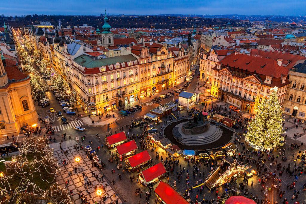 The big Christmas market in Prague, Czech Republic.