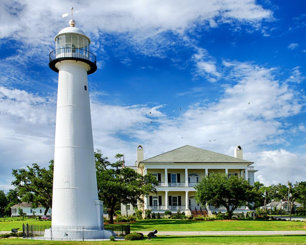 The Biloxi Lighthouse on the coast of Mississippi.