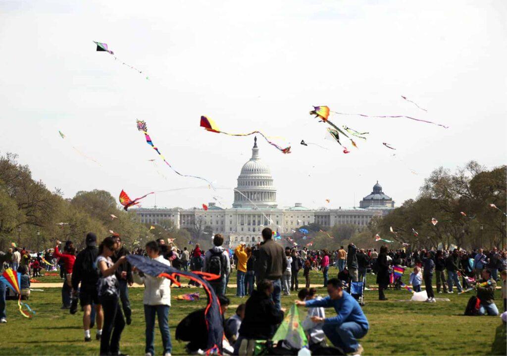 The Blossom Kite Festival at the Washington Monument.