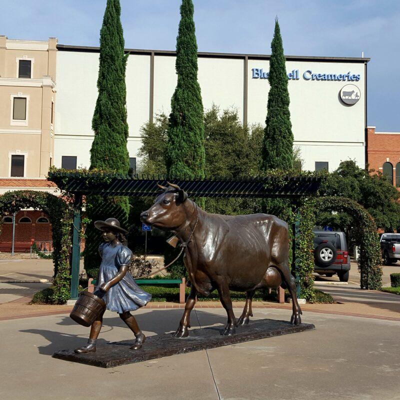 The Blue Bell sculpture in downtown Brenham, Texas.