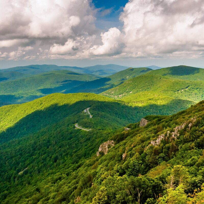 The Blue Ridge Mountains in Shenandoah National Park.