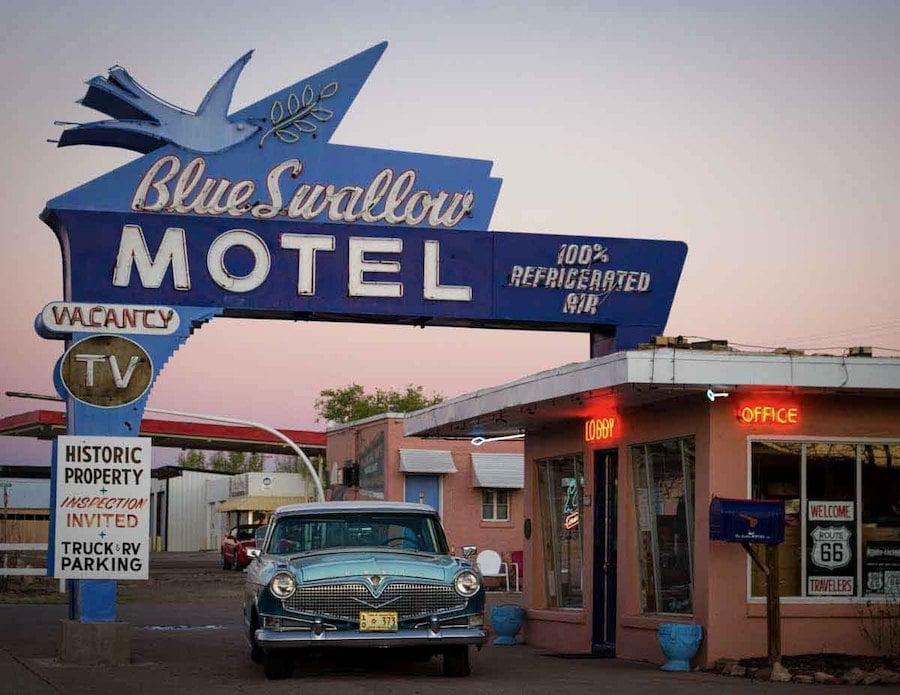 The Blue Swallow Motel in Tucumcari, New Mexico.
