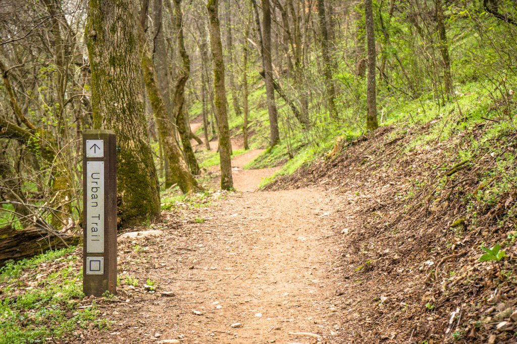 The blue Urban Trail in Bentonville, Arkansas.
