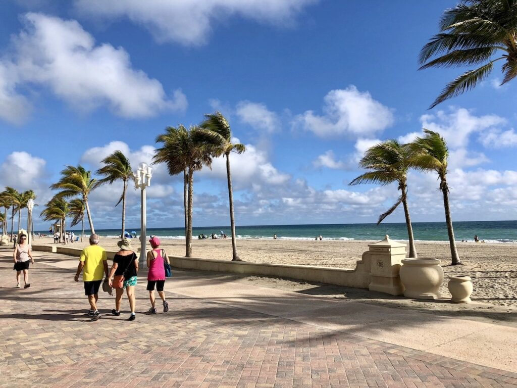 The boardwalk along the beach in Hollywood, Florida.