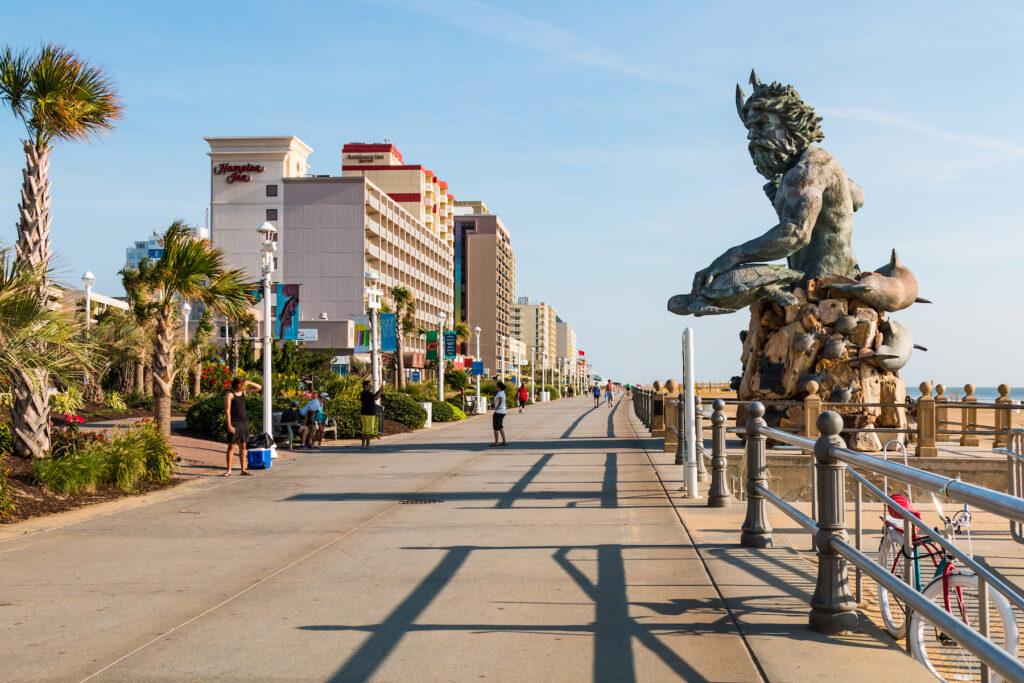 The boardwalk along Virginia Beach.