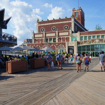 The boardwalk and convention center in Asbury Park.