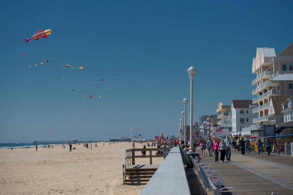 The boardwalk in Ocean City, Maryland.