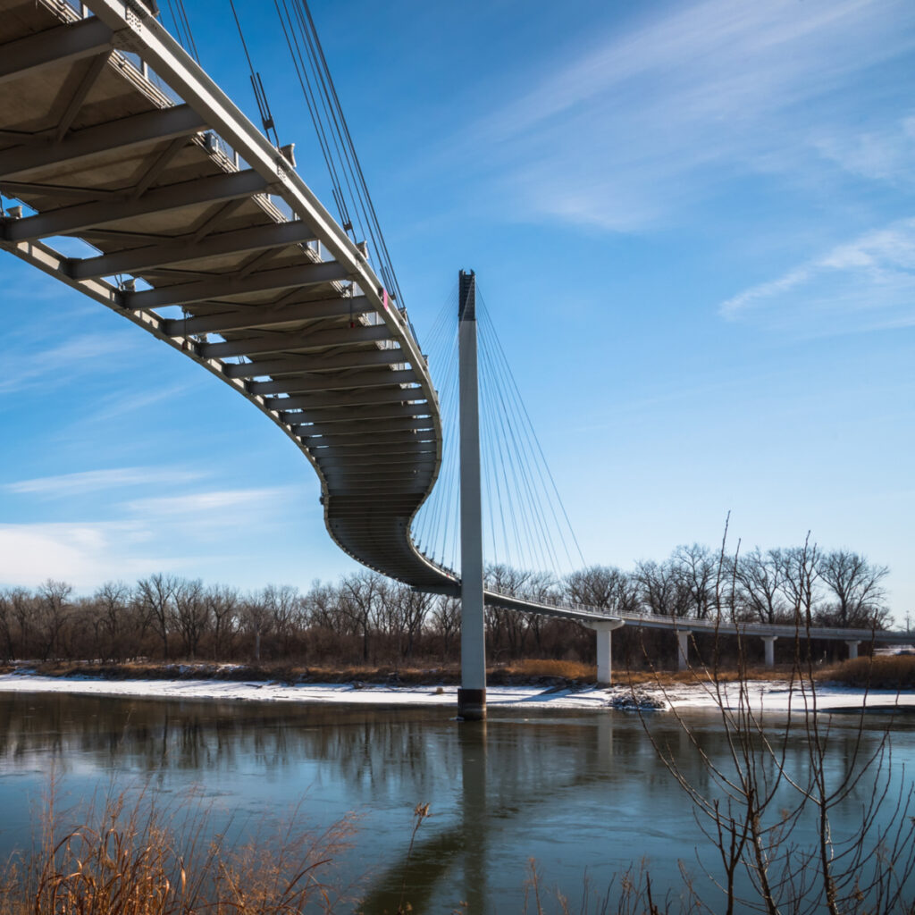 The Bob Kerrey Pedestrian Bridge on the border of Iowa.