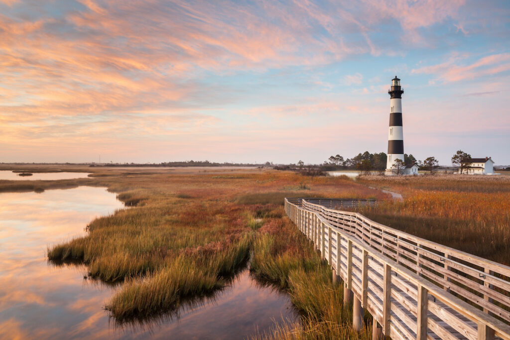 The Bodie Island Lighthouse in North Carolina.