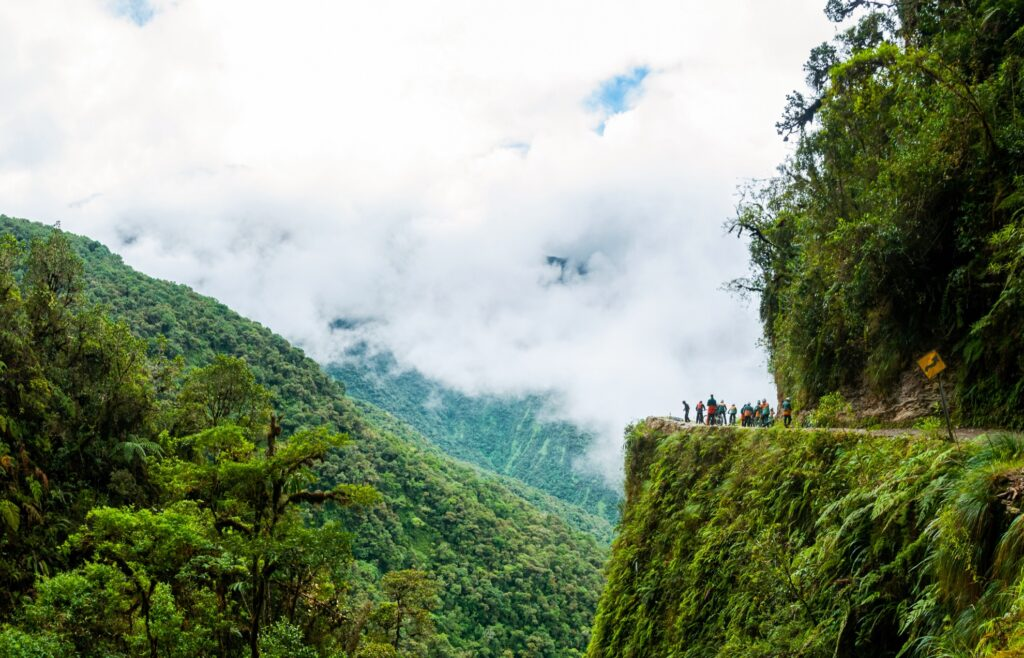 The Bolivian Death Road in the Yungas Valley.