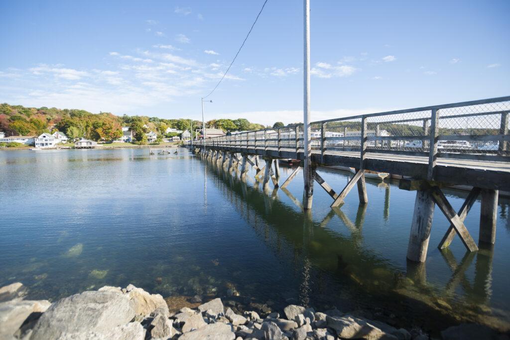 The Boothbay Harbor footbridge in Maine.