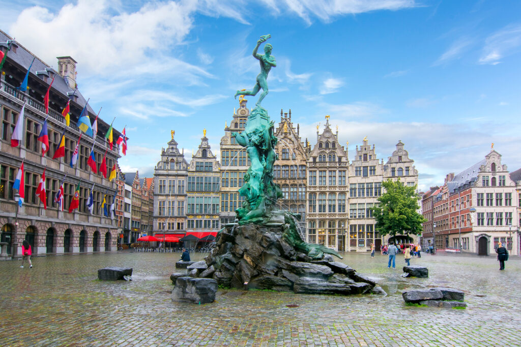 The Brabo Fountain in Antwerp's Grote Markt.
