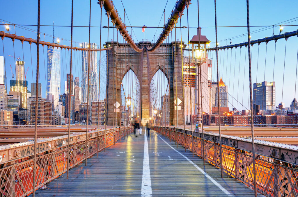The Brooklyn Bridge without many visitors.