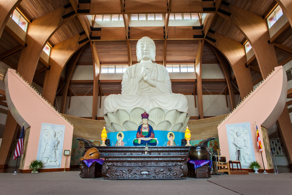 The Buddha statue at the Chuang Yen Monastery in Carmel.