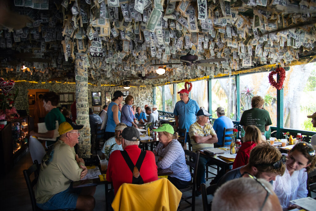 The Cabbage Key bar on Pine Island in Florida.