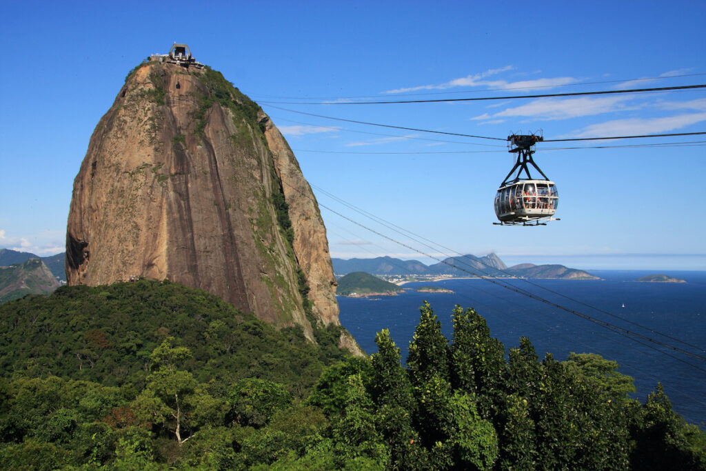 The cable car to Sugarloaf Mountain in Rio de Janeiro.