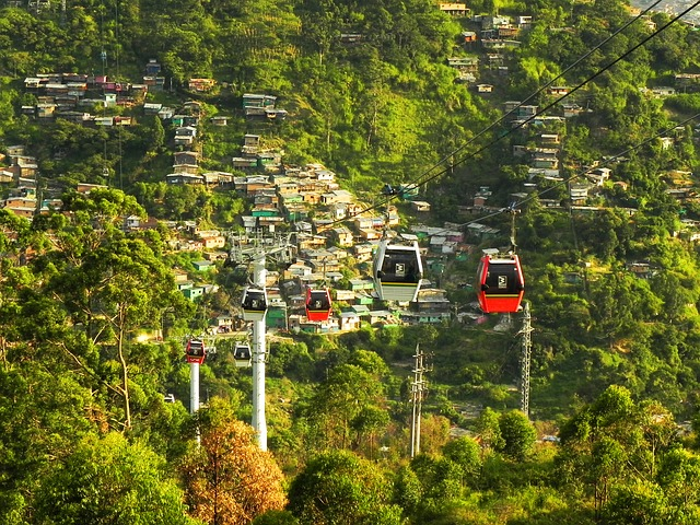 The cable cars of Medellin, Colombia, above the valley