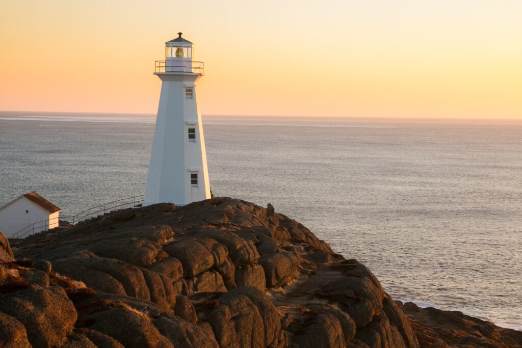 The Cape Spear Lighthouse at sunrise.