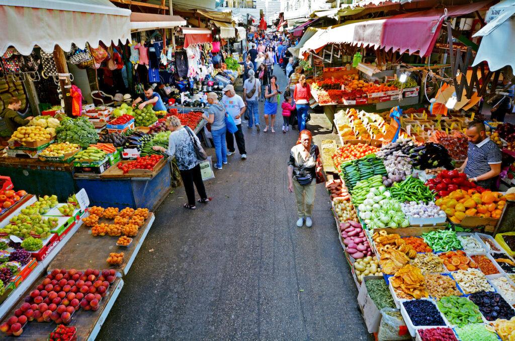 The Carmel Market in Tel Aviv.