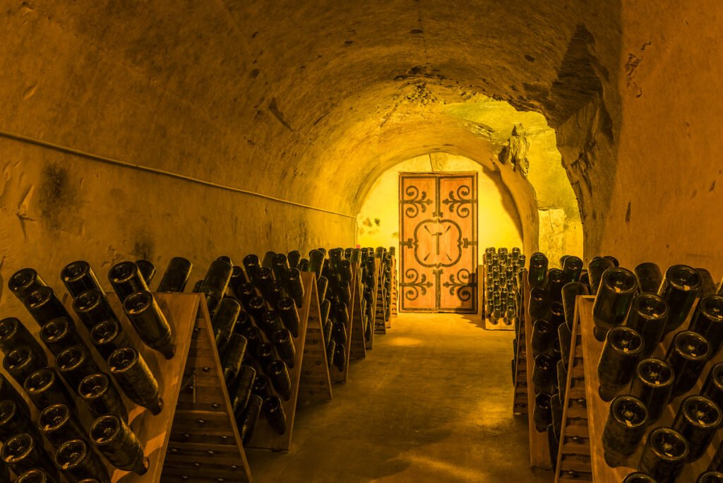 The caves of Champagne House Mumm in Reims.
