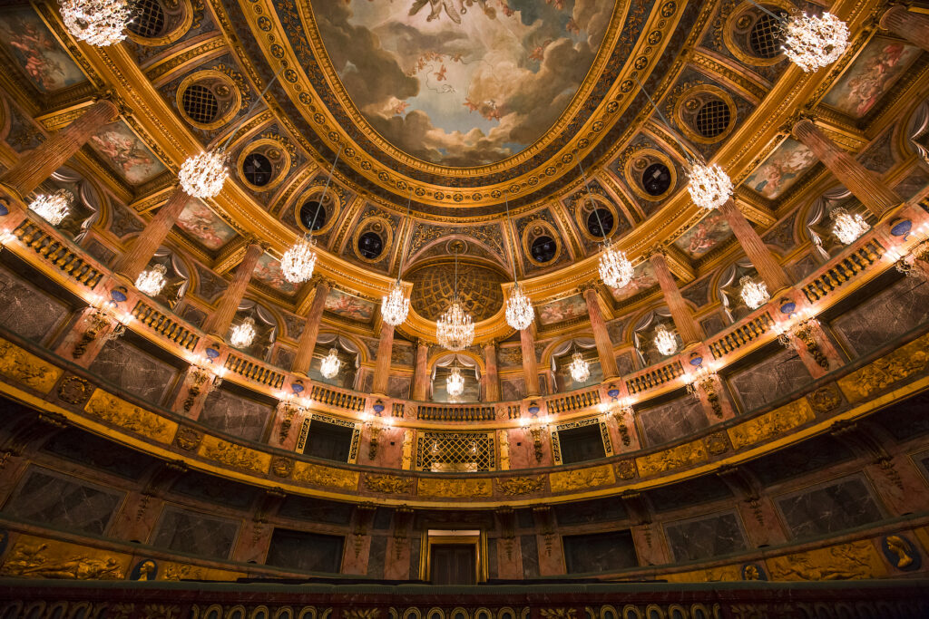 The ceiling of the Versailles Royal Opera House.