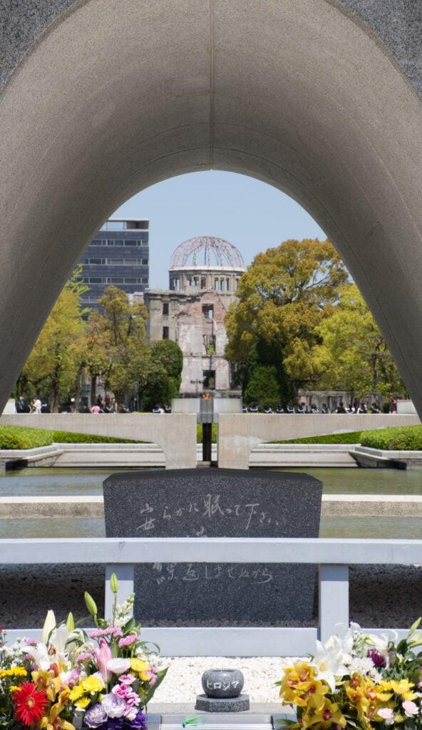 The Cenotaph at Hiroshima's Peace Memorial Park.