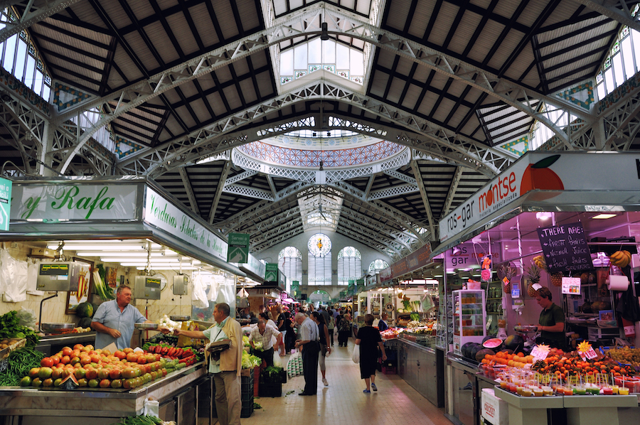 The Central Market of Valencia, Spain.