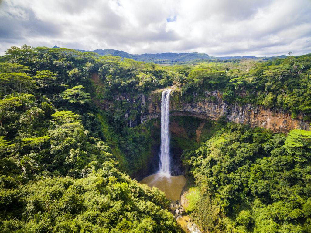 The Chamarel Waterfall on Mauritius island.
