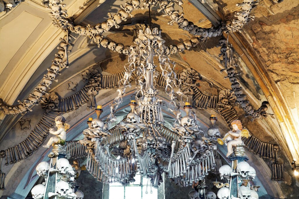 The chandelier in the Sedlec Ossuary.