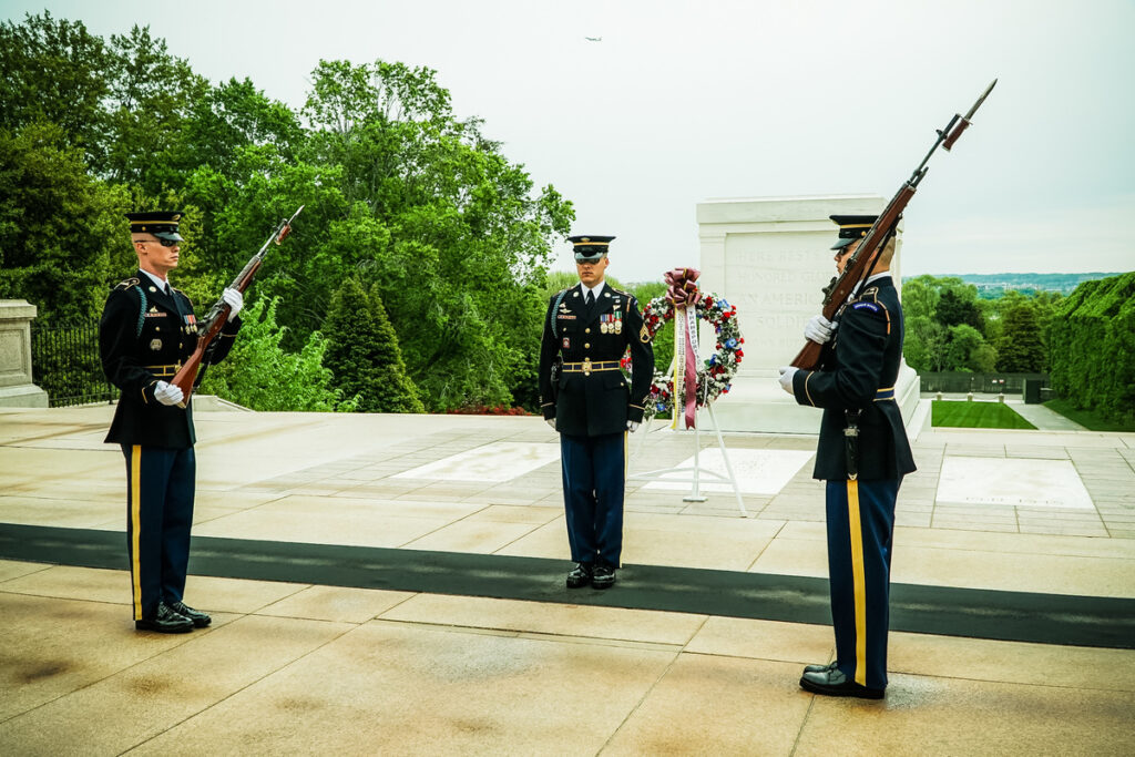 The Changing of the Guard at Arlington National Cemetery.