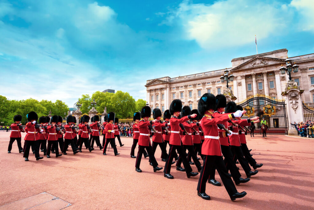 The changing of the guard outside Buckingham Palace.