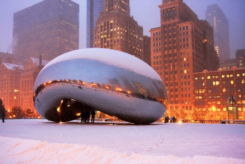 The Chicago Bean in December.