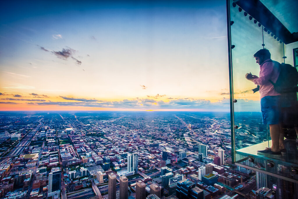 The Chicago Skydeck overlooking the city.