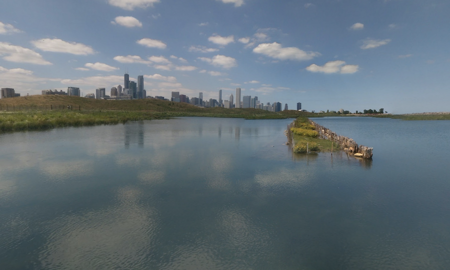 The Chicago skyline as seen from the Northerly Island Loop Trail.