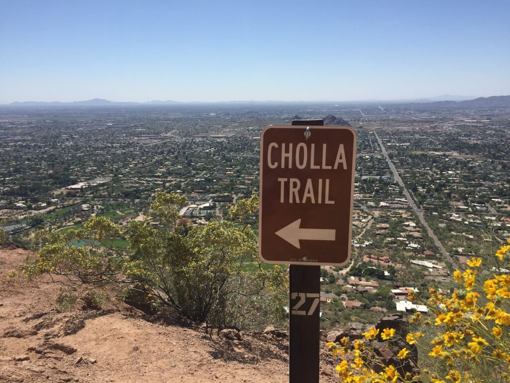 The Cholla Trail on Camelback Mountain in Arizona.