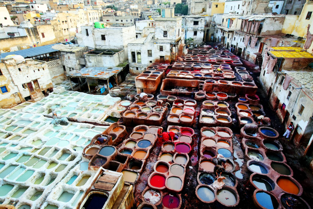 The Chouara Tannery in Fes, Morocco.