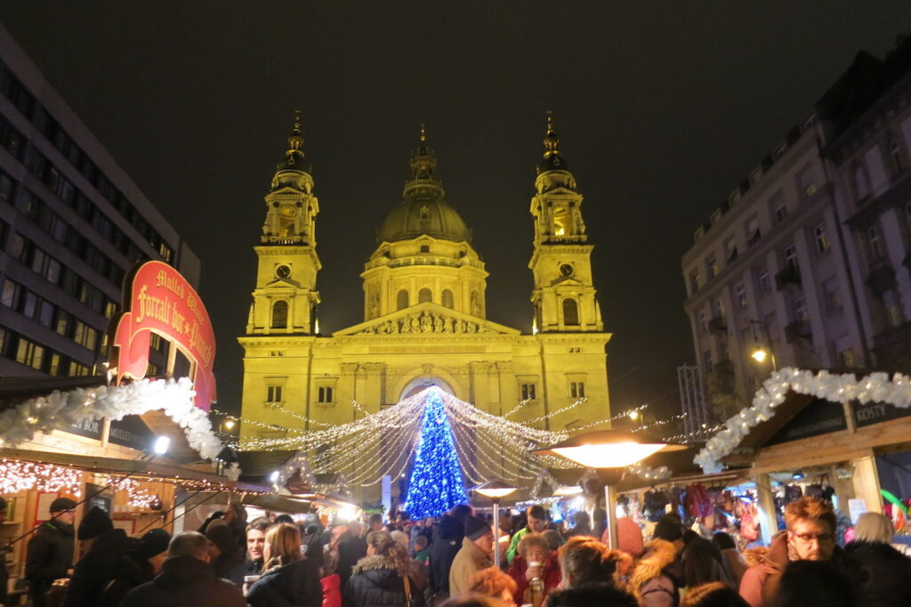 The Christmas market in Budapest, Hungary.